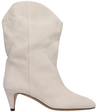Isabel Marant Dernee Low Heels Ankle Boots In Grey Suede