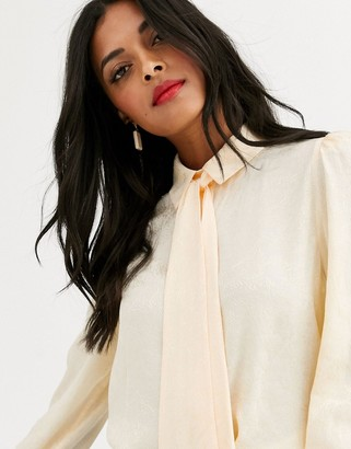 And other stories & jacquard pussybow blouse in soft yellow