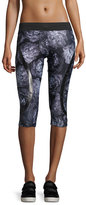 Stella McCartney Run ClimaLite®; 3/4-Length Floral-Print Compression Tights, Black