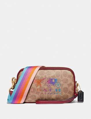 Coach Sadie Crossbody Clutch In Signature Canvas With Rexy And Carriage