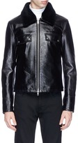 Calvin Klein Removable lamb fur collar leather jacket