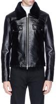 Calvin Klein Removable lamb fur collar leather jacket
