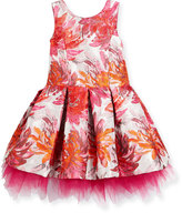 Zoë Ltd Sleeveless Pleated Floral Brocade Dress, Pink, Size 2-6X