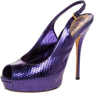 Gucci Purple Python Leather Sofia Platform Peep Toe Slingback Sandals Size 37