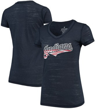 Americana Unbranded Women's Soft as a Grape Navy Cleveland Indians Stars & Stripes V-Neck T-Shirt