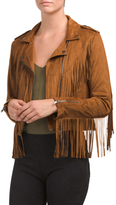 Juniors Faux Suede Fringe Jacket