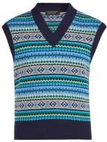 Burberry V-neck sleeveless Fair Isle-knit wool-blend top