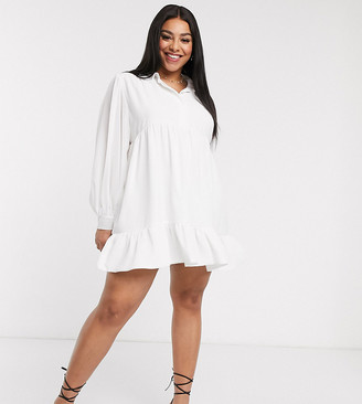 In The Style Plus x Jac Jossa button through swing shirt dress in white