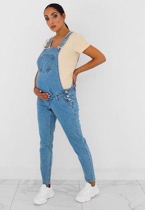 Missguided Blue Denim Mom Maternity Dungarees