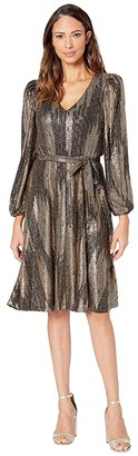 Calvin Klein Balloon Long Sleeve Belted Gold Foil Knit A-Line Dress