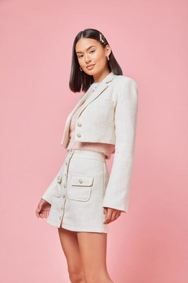 Forever 21 Cropped Tweed Faux Pearl Blazer