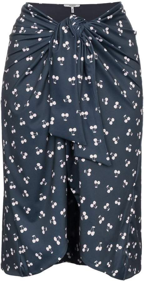 Ganni Blue cherry print wrap skirt
