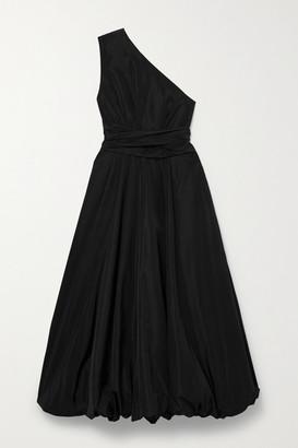 Tibi One-shoulder Belted Taffeta Midi Dress - Black