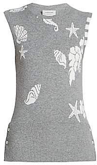 Thom Browne Women's Ocean Floor Printed Cashmere Shell Top