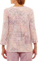 Alfred Dunner Winter Garden 3/4 Sleeve Crew Neck Dots T-Shirt-Womens