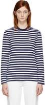 MAISON KITSUNÉ Navy and White Long Sleeve Striped Tricolor Fox T-Shirt