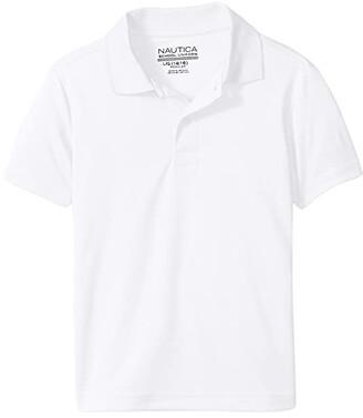 Nautica Short Sleeve Performance Polo (Little Kids) (White) Boy's Short Sleeve Pullover
