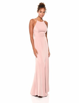 Jenny Yoo Women's Naomi Criss Cross Back Halter Neck Fitted Crepe Long Gown