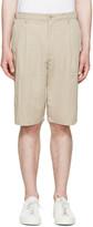 Helmut Lang Beige Pleated Trouser Shorts