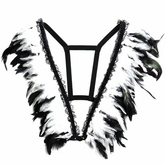 Petmhs Women's Feather Body Breast Harness Bralette Angel Wing Punk Strappy Tops Epaulet Rave Waist Garter Belts Plus Size Halloween Clothing (White)