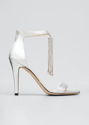 Jimmy Choo Viola Metallic Crystal Tassel Cocktail Sandals