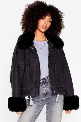 Nasty Gal Womens Waitin' Faux Fur You Relaxed Denim Jacket - Black - S/M, Black