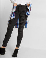 Express black high waisted distressed ankle jean legging