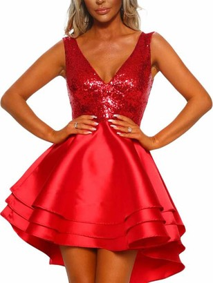 KIDSFORM Womens Cocktail Party Dresses Sequin Sexy Deep V Neck Mini Dress Sleeveless A-line Layering Ruffle Sparkling Club Evening G-red S