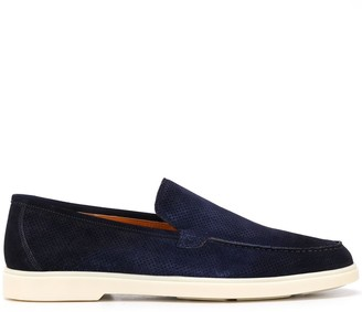 Santoni Perforated Suede Slip-On Loafers