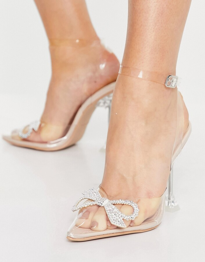 Thumbnail for your product : Be Mine Bridal Beauty heeled shoes with diamante bow in clear