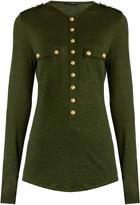 Balmain Long-sleeved linen-blend top