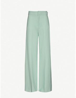 Roland Mouret Merlion wide high-rise wool-crepe trousers