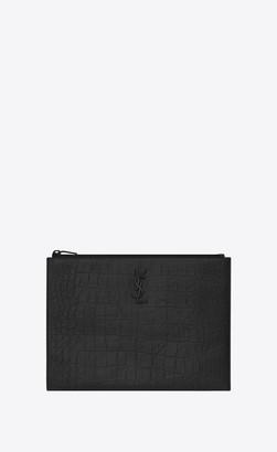 Saint Laurent Monogram Tablet Holder In Crocodile Embossed Leather Black Onesize