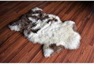 "3.1 Phillip Lim Millwood Pines Ceasar Animal Print Handmade 2'1"" x 3'1"" Sheepskin Cream/Brown Indoor / Outdoor Area Rug Millwood Pines"