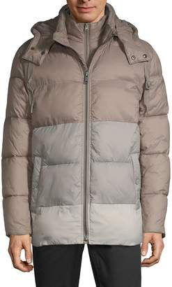 Andrew Marc Colorblock Hooded Puffer Jacket