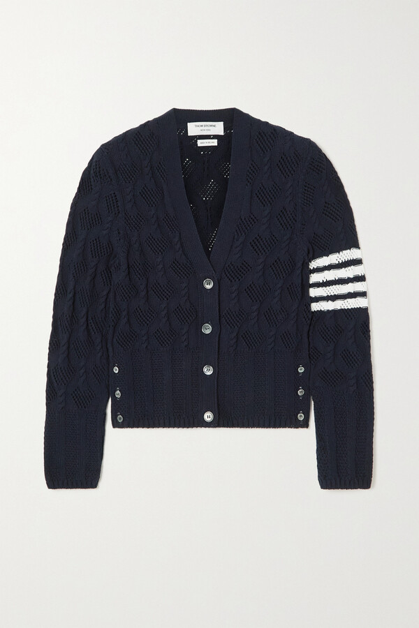 Thumbnail for your product : Thom Browne Striped Pointelle And Cable-knit Cotton Cardigan - Blue