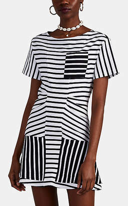 Derek Lam 10 Crosby Women's Ruffle-Trimmed Striped Stretch-Cotton T-Shirt Dress - Dk. Blue