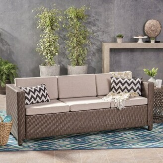 Wade Logan Furst Outdoor Patio Sofa with Cushions Frame Color / Cushion Color: Brown Frame / Ceramic Grey Cushion