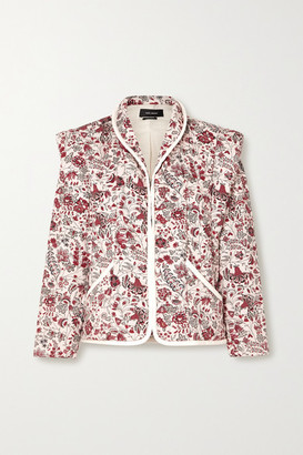 Isabel Marant Anissaya Convertible Faux Leather-trimmed Quilted Floral-print Cotton Jacket - Ecru