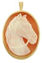 Del Gatto Horse Cornelian Cameo Pendant / Pin