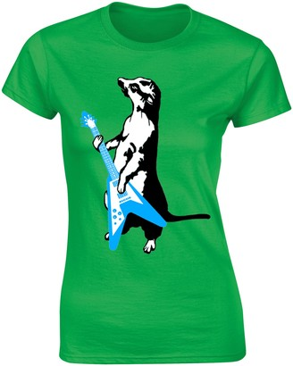 Flip Womens Meerkat Playing Guitar Funny Rock Music T-Shirt Green UK 12-14 (XL)