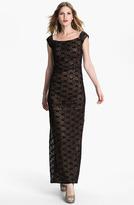 Alex Evenings Cap Sleeve Lace Column Gown