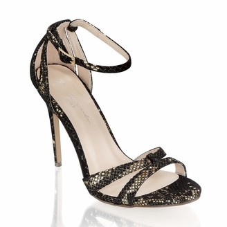 Pink Paradox London Women's Ladies Hannalee Black Multi Shimmer High Heel Snake Print Party Sandal