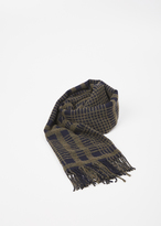 Acne Studios olive green / navy canada boucle check scarf