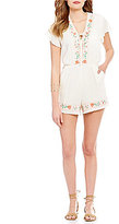 Copper Key Embroidered Tie-Front Romper