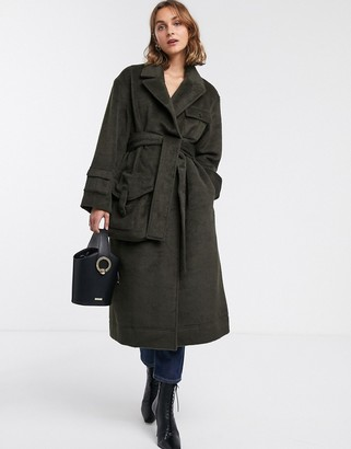 Asos DESIGN brushed utility coat in khaki