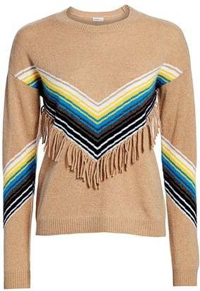 Minnie Rose Cashmere Multi Stripe Fringe Crewneck