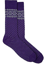 Barneys New York MEN'S FAIR ISLE COTTON-BLEND MID-CALF SOCKS-PURPLE, GREY