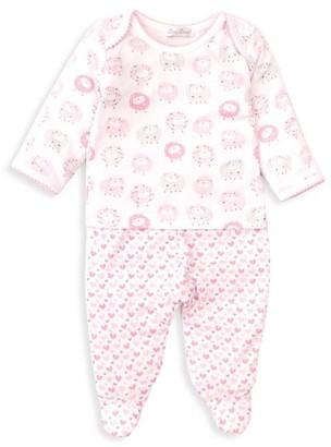 Kissy Kissy Baby Girl's 2-Piece Sheep & Heart Print Top & Footie Set