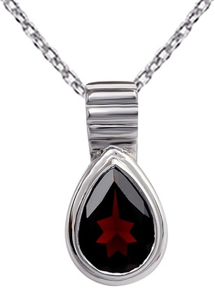 Garnet Sterling Silver Pear Short Pendant by Orchid Jewelry